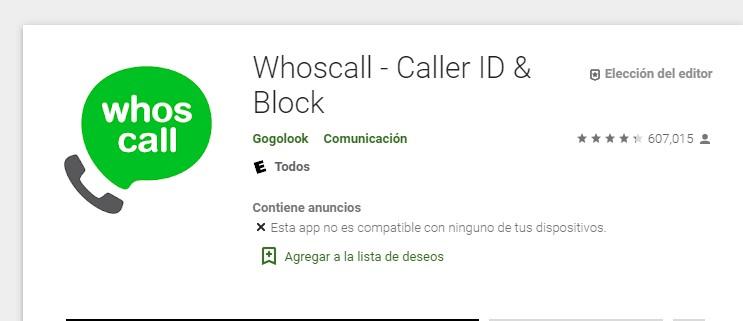 whoscall, caller id y block de llamadas