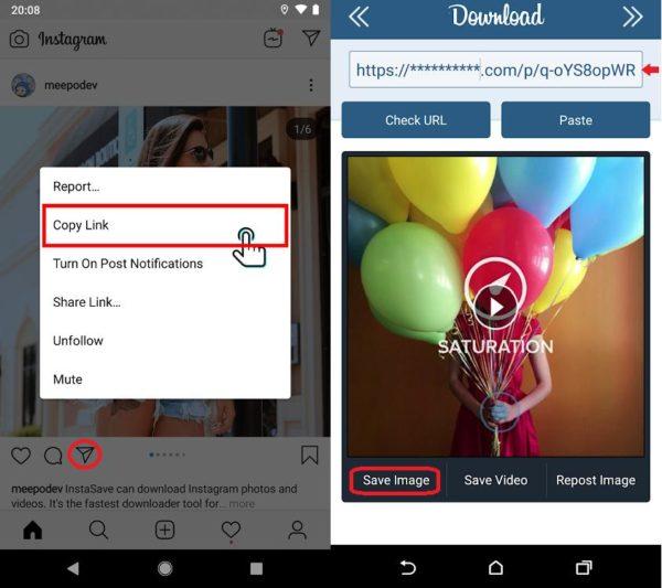 Pasos descargar fotos de Instagram con Downloader for IG