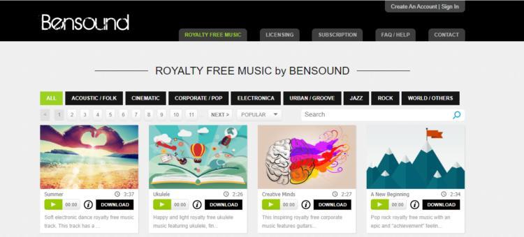 bensound, descargar musica gratis y legal