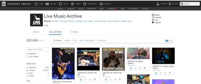 live music archive, descargar musica gratis y legal