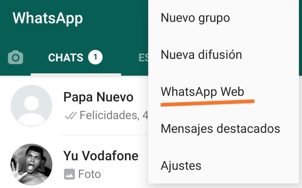 abrir menu whatsapp web