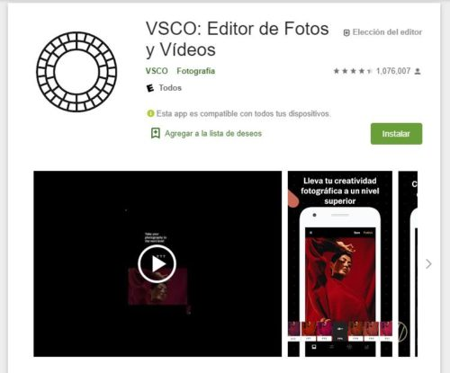 VSCO editor de fotos