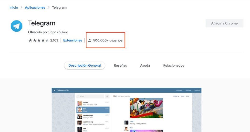 extension navegador chrome telegram