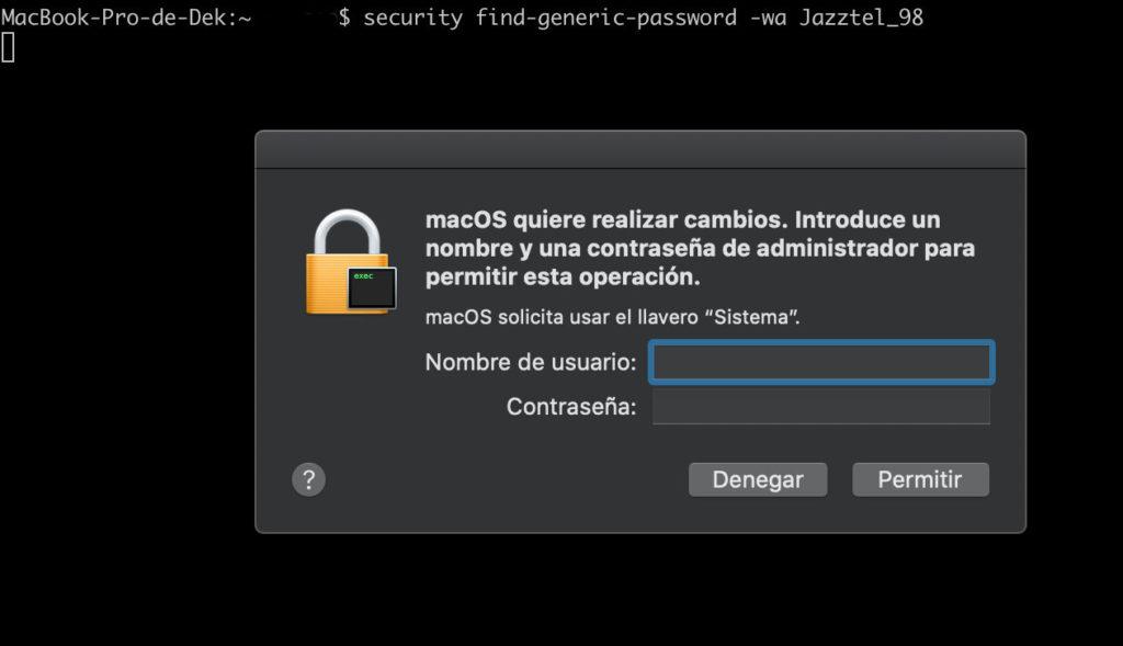 clave wifi mac en consola, comando
