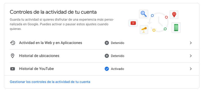 configurar actividad de cuenta de google