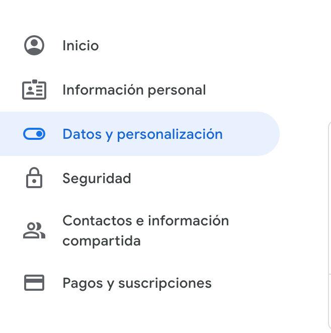 datos y personalizacion en cuenta de google