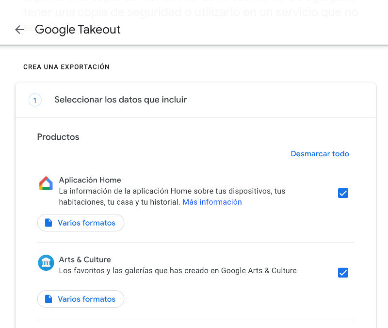 configurar lo que quieres guardar en google take out