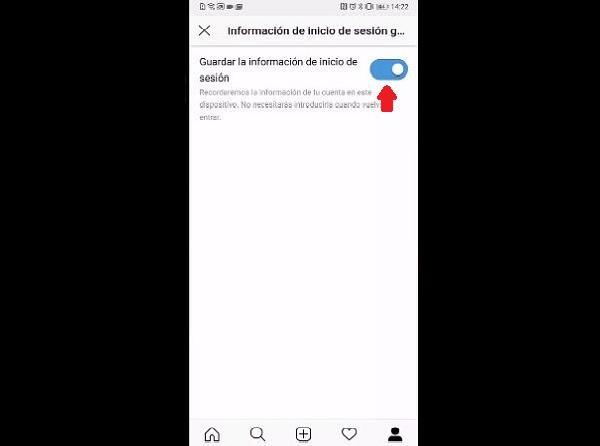 Desactivar inicio de sesión automático en instagram (Móvill) (Paso 3)