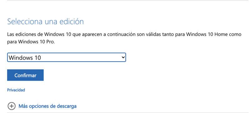 elegir version de windows 10 para descargar iso