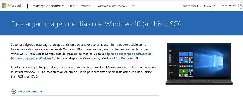descargar iso de windows 10 desde la web oficial
