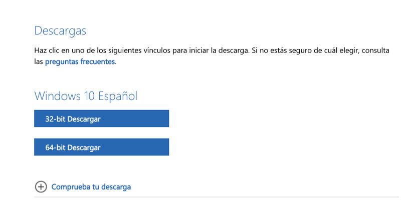 elegir iso de 32 o 64 bits de windows 10 en la web oficial