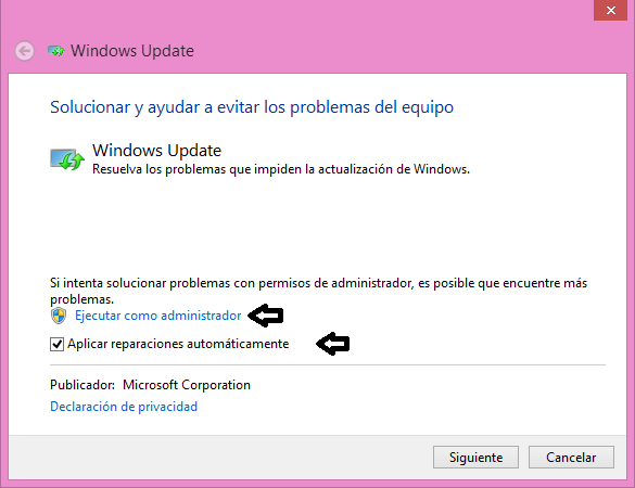 Solucionador de problemas de Windows Update