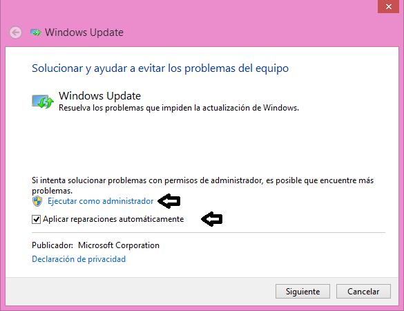 Solucionador de problemas de Windows Update