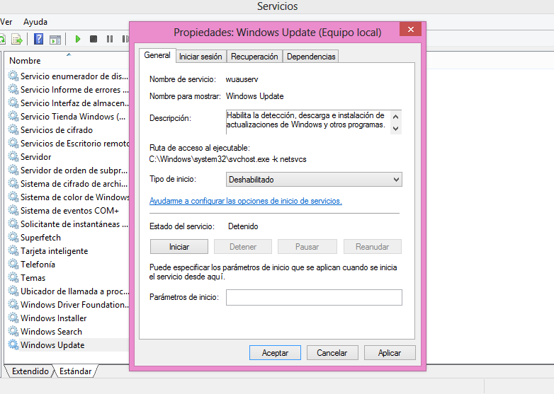 """Servicios """"Windows Update"""""""