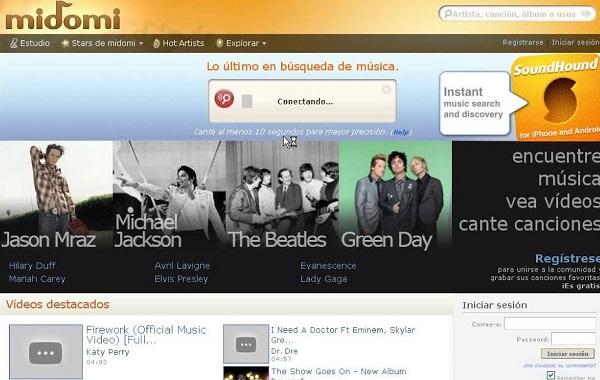 Reconocedor de música online Midomi