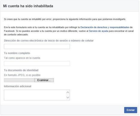 Reactivar cuenta de facebook suspendida
