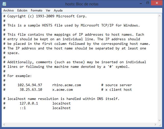 Bloquear un sitio web de un ordenador con el hosts