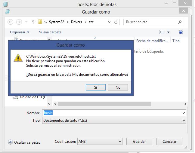 Conceder permisos al usuario para editar el hosts