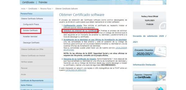 Solicitar el certificado digital FNMT