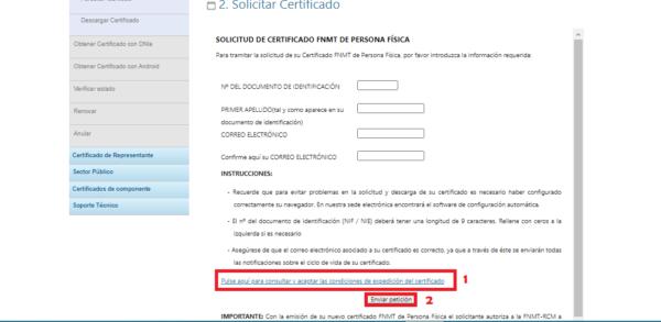 Aceptar las condiciones de expedición del certificado