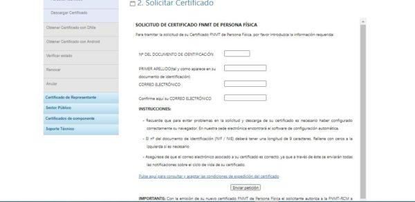 Formulario para solicitar el certificado digital FNMT