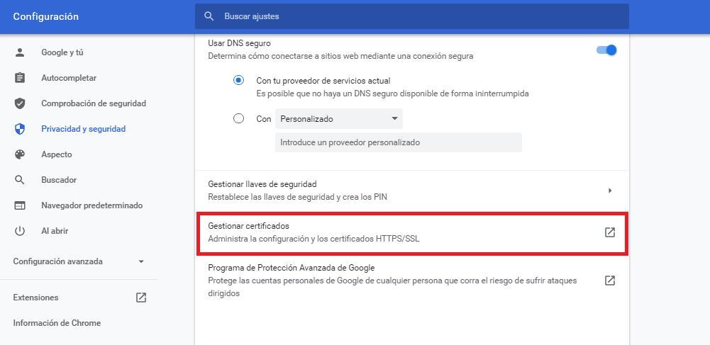 Cómo instalar el certificado digital FNMT en Google Chrome