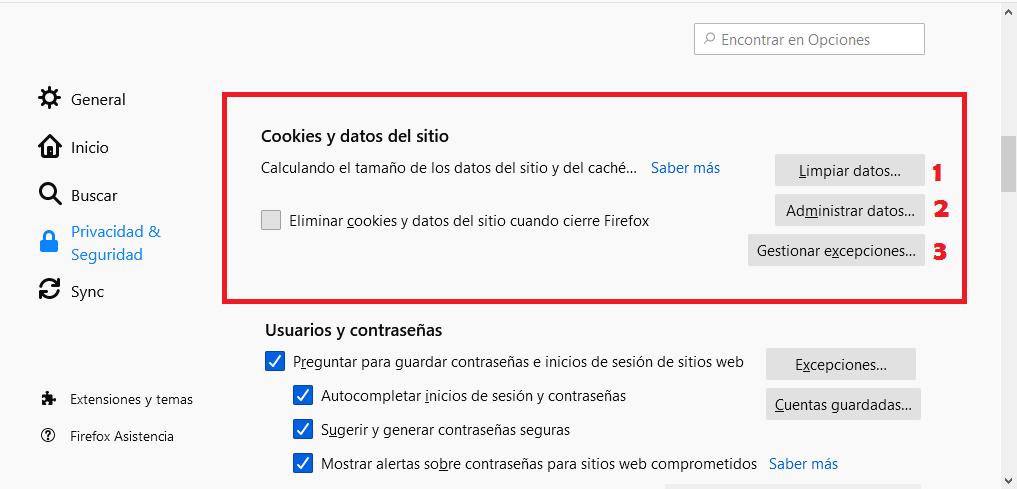 Eliminar cookies en Firefox