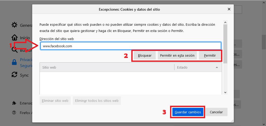 Cómo configurar las cookies en Mozilla Firefox