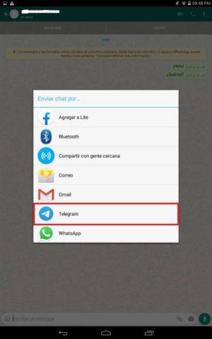 Elige Telegram en el listado