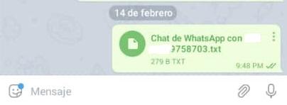 Archivo de texto enviado de Whatsapp a Telegram
