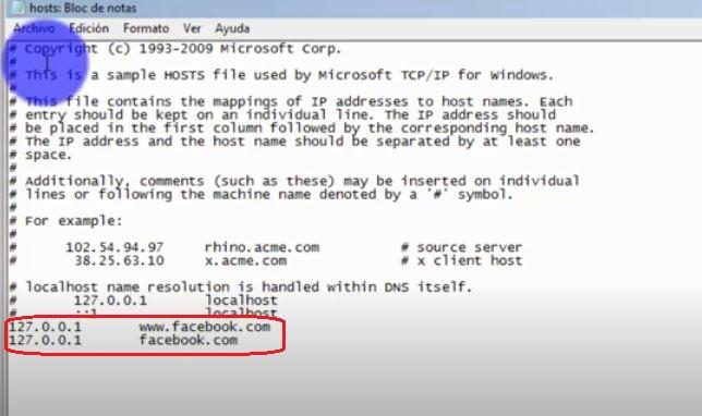 Ejemplo de una pagina bloqueada con un archivo host