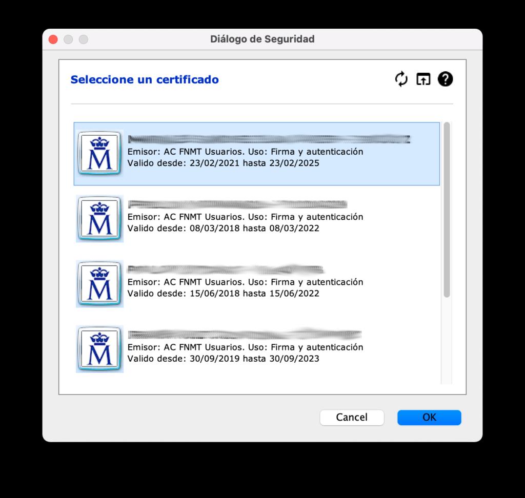 seleccion de certificado digital en autofirma