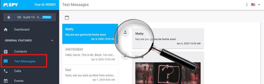 monitorizar sms de tus hijos con app de control parental mspy