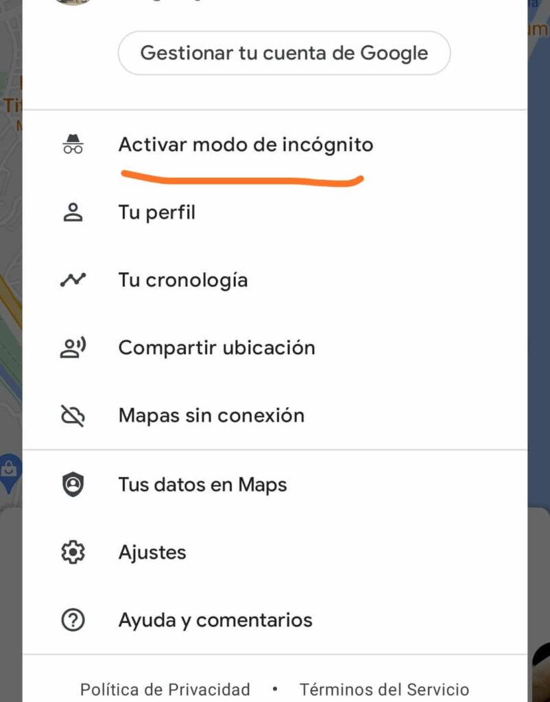 activar modo incognito de google maps en android