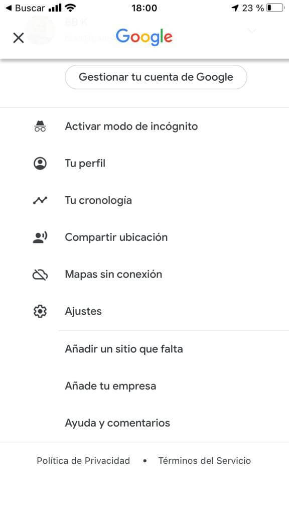 Activar modo incognito de google maps en iphone