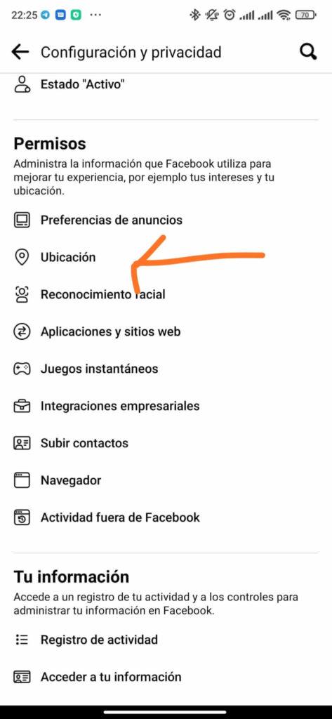 desactivar permiso ubicacion facebook