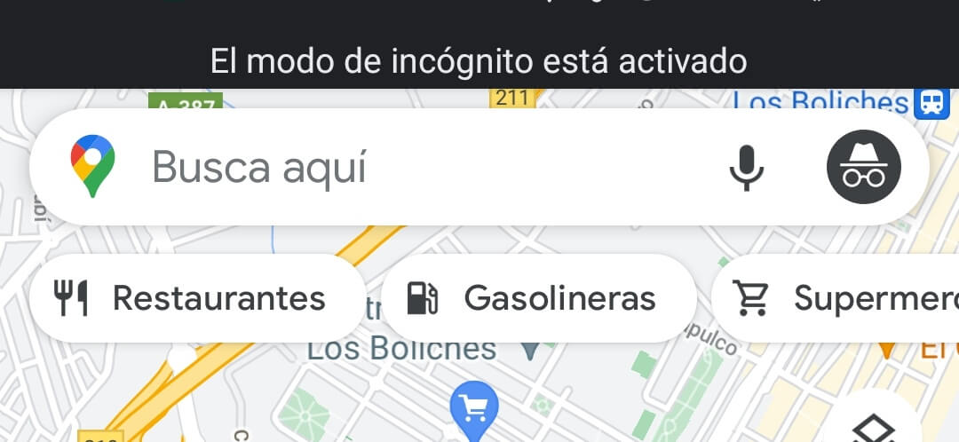 modo incognito de google maps